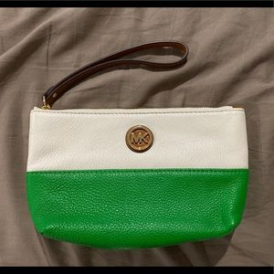 Cream and Green Michael Kors Wristlet !